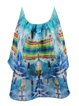 Multicolor Halter Ruffled A-line Sleeveless Mini Dress