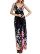 Fuchsia Printed Polyester Sleeveless A-line Maxi Dress