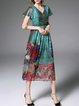 Multicolor Floral Frill Sleeve Floral-print Midi Dress