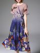 Multicolor Elegant A-line Floral-print Chiffon Midi Dress