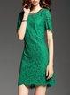 Green Cocktail Cotton Crocheted Sheath Mini Dress