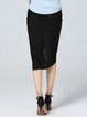 Black Simple Asymmetrical Midi Skirt