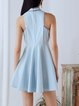 Light Blue Crew Neck Statement Mini Dress