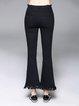 Black Casual Pockets Plain Flared Pants