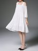 Elegant Spaghetti Gathered Cotton Off Shoulder Midi Dress