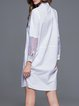 White Casual A-line Cotton Paneled Mini Dress