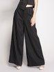Black Casual H-line Stripes Pockets Wide Leg Pants