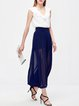 Blue Plain A-line Polyester Simple Wide Leg Pants