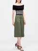 Army Green Pockets Simple Wide Leg Pants