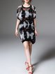 Black Elegant Printed/Dyed Midi Dress