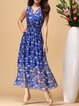 Blue Floral Elegant A-line Maxi Dress