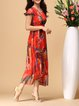 Red Printed Abstract Elegant Midi Dress