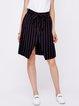 Black Simple Asymmetric Midi Skirt