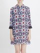 Multicolor Printed Stand Collar 3/4 Sleeve Midi Dress