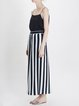 Multicolor Plain Simple Chiffon Wide Leg Pant