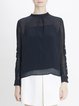 Black Statement Plain Buttoned Stand Collar Long Sleeved Top With Camis