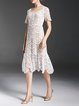 White Lace Sheath Pierced Elegant Party Dress