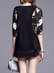 Black Crew Neck Polyester Fringed Casual Tunic