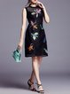 A-line Casual Sleeveless Embroidered Polyester Midi Dress