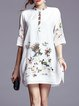 White H-line Half Sleeve Embroidered Stand Collar Vintage Mini Dress