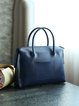 Blue Zipper Casual Leather Tote