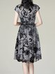 Black Stand Collar Embroidered Short Sleeve A-line Midi Dress With Belt