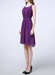 Purple Crew Neck A-line Elegant Midi Dress