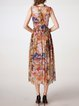 Multicolor A-line Boho Graphic Midi Dress