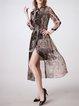 Tribal Printed A-line 3/4 Sleeve Casual Silk Midi Dress