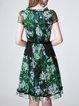 Green Pleated Keyhole Short Sleeve Floral Midi Dress