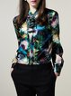 Multicolor Stand Collar Long Sleeve Floral Blouse