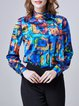 Abstract Silk Printed Statement Long Sleeve Blouse