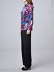 Red Printed Silk Statement Abstract Blouse