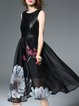 Black Elegant A-line Silk-blend Midi Dress
