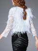 White Fringed Statement Lace Paneled Cropped Jacket