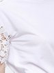 White Cotton Short Sleeve Simple Pierced Blouse