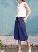 Navy Blue H-line Simple Wide Leg Pant