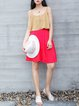 Red Plain Simple Midi Dress