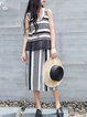 Simple Stripes Sleeveless Two Piece Jumpsuit