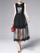 Black A-line Mesh Paneled Sleeveless Midi Dress
