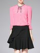 Pink Plain Simple H-line Pleated Silk Blouse