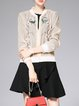 Beige Casual Polyester Stand Collar Embroidered Bomber Jacket