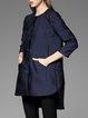 Dark Blue 3/4 Sleeve High Low Pockets Mini Dress