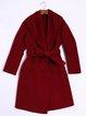 Wine Red Plain Wool Blend Long Sleeve Coat