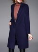 Long Sleeve Plain Pockets Simple Coat