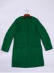 Green Pockets Long Sleeve Wool Blend Plain Coat