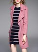 Elegant Long Sleeve Plain Lapel Coat With Belt