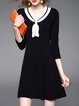 Casual Sailor Collar 3/4 Sleeve A-line Mini Dress