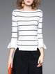 White Knitted Stripes Petite Bateau/boat Neck Sweater