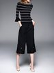 Black Knitted Petite Bateau/boat Neck Stripes Sweater